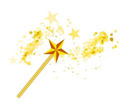 Varita mágica con las estrellas mágicas en blanco Ilustración de vector