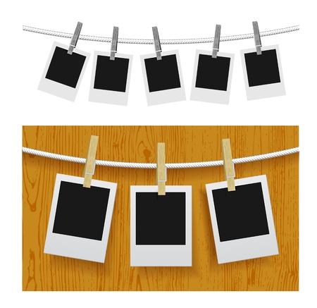 Photo frames with pins on rope Stock Vector - 15644396