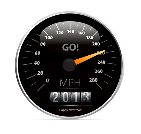 instrument panel: speedometer with 2013 counter in vector Illustration