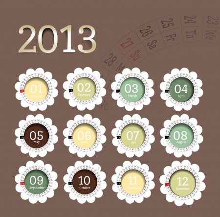 2013 calendar in flower form Vector