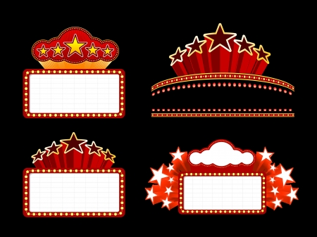 theater sign: Retro Movie marquesina iluminada en blanco signo