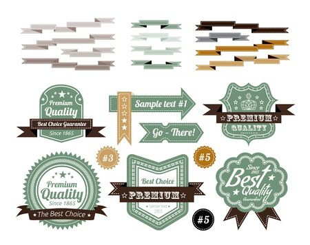 vintage labels set isolated on white background Vector
