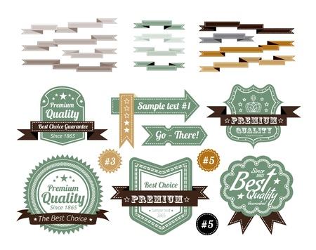 zeehonden: set vintage labels Stock Illustratie