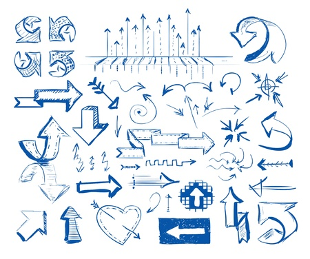 Hand-drawn arrow doodles on white background Stock Vector - 17189583