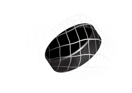 Goal - a hockey puck in the net. Vector illustration Vector