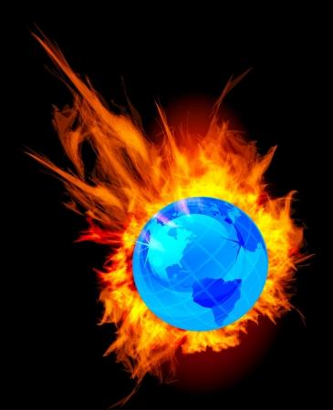Burning globe earth Stock Vector - 18516849
