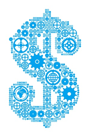 money making: Dollar sign in the form of a gear mechanism