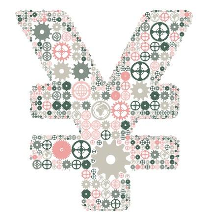 yen sign: Yen japon�s hizo signo de engranajes de color Vectores