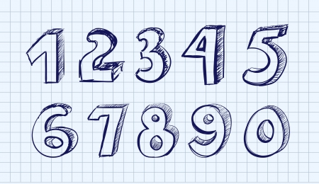 Hand drawn vector numbers Vector