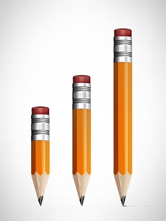 Lead pencils various length on white background  Stock Vector - 19155558