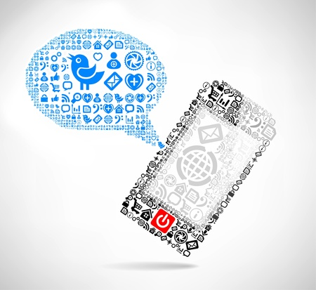 Mobile phone text message balloons made   of icons Vector