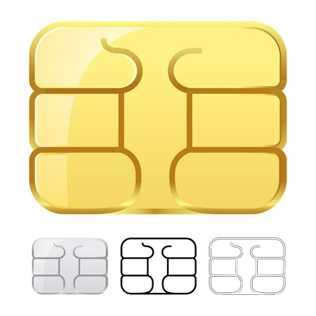 simcard: Sim card chip isolated on white
