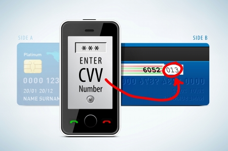 Credit Card, CVV code with mobile phone Vector