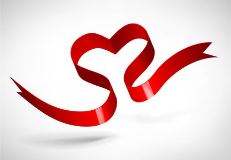 Red Heart Ribbon Stock Vector - 19569584