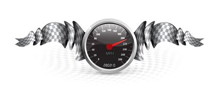 cars racing: Racing emblem with speedometer and checkered flags.