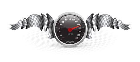 velocímetro: Racing emblema con velocímetro y banderas a cuadros.