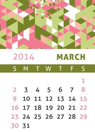 Calendar for 2014 in a triangular retro style Stock Vector - 21540360