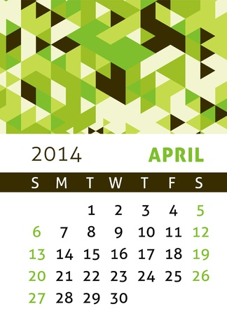 Calendar for 2014 in a triangular retro style Stock Vector - 21540380