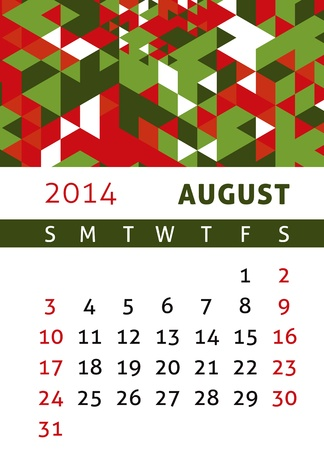 Calendar for 2014 in a triangular retro style Stock Vector - 21540362