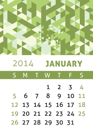 Calendar for 2014 in a triangular retro style