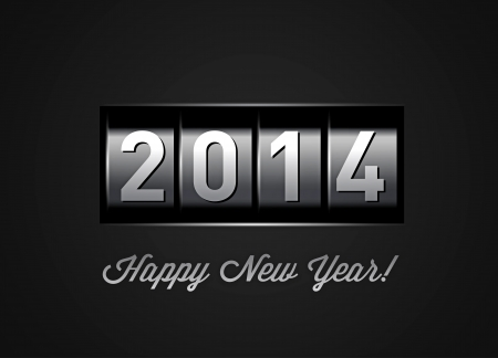 New Year counter 2014 on black Vector