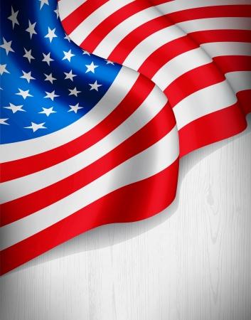 회색 나무 배경에 미국 국기