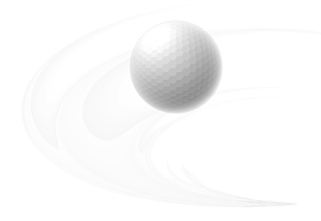 golfball: Golf ball is flying in the air. Illustration