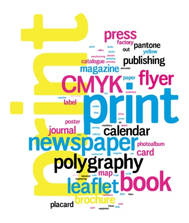 Word Cloud Printing Konzept Vektor-Illustration auf schwarzem Illustration
