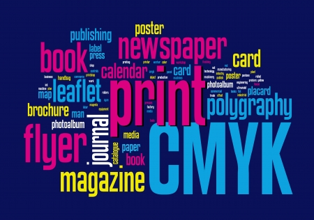 Printing Word Cloud vector concept illustration on black