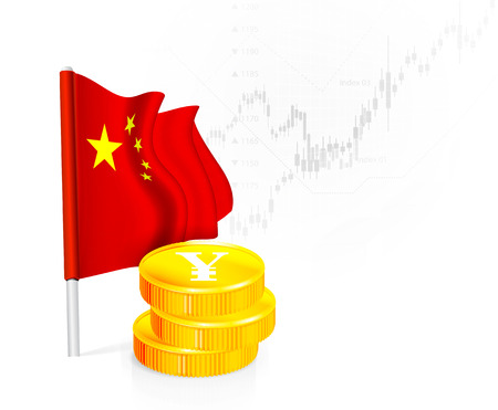 stock illustrations: Flag of China with coins on background stock illustrations. Vector illustration