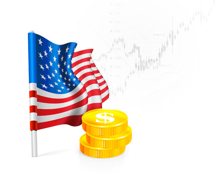 stock illustrations: American Flag with coins on background stock illustrations. Vector illustration