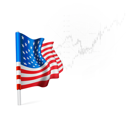equities: American Flag on background stock illustrations. Vector illustration