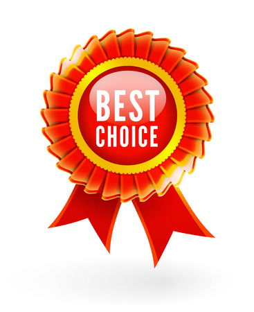 Best choice red label with ribbons. Vector illustration Vector