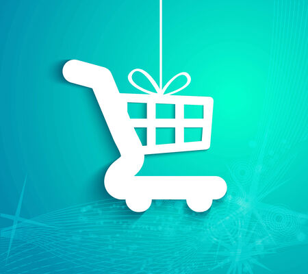 gift basket: Christmas present in the form of shopping basket  Vector illustration