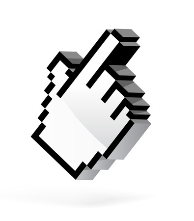 Hand arrow cursor on white background. VEctor illustration Vector
