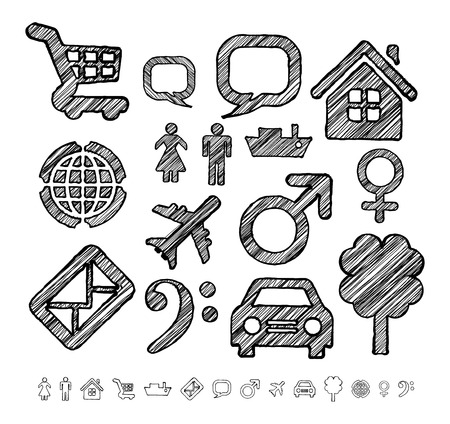 Group of icons for infographic-style doodle on a white background. At the bottom of the same forms, contours icons without shading Vector