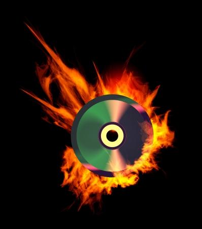 Burning CD. Illustration on black background Vector