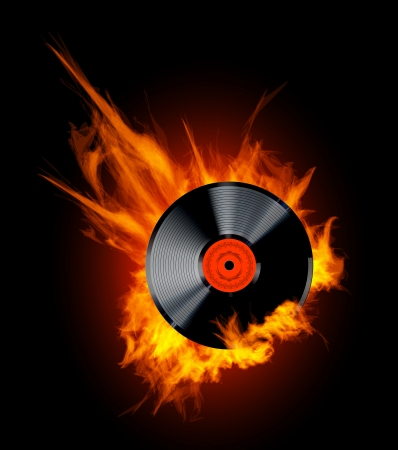 Vector Vinyl Record Disc in Flames on black background. Hot hits!