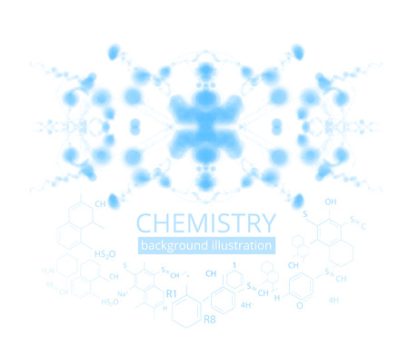 medical education: Molecule illustration over blue background with copyspace for your text