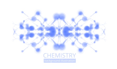 Molecule illustration over blue background with copyspace for your text Vector