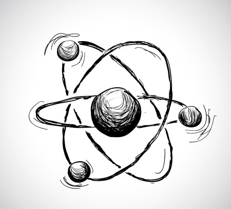 electrons: Abstract atom. Hand drawn illustration