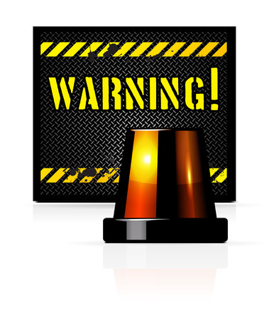 Vector warning background with steel background and flasher Vector