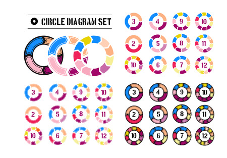 Set of Different arrow circles isolated on the white Vector