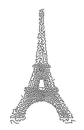 Eiffel Tower in hand-drawn doodle style. Vector