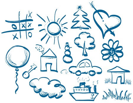 Hand drawing symbols set in doodle style.  Drawn using a graphics tablet in vector format Vector