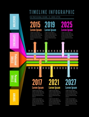 history month: Timeline Web Element Template. Vector illustration on white Illustration