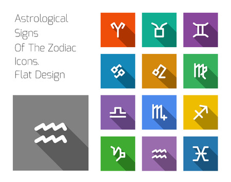 Zodiac Symbol icons on color background. Flat design style Vector