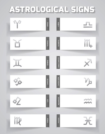 future twin: Template for astrological forecast icons with zodiac signs Illustration