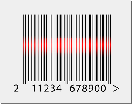 ean: Vector realistic barcode icon with red laser beam