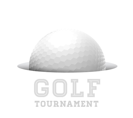 Golf ball in hole. Vector illustration on white